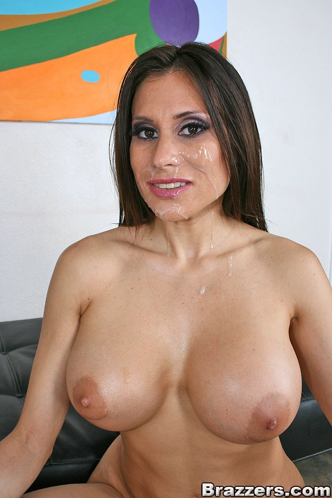 Busty milf gets gang banged and cum covered 2