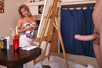 Jordan and his fine chickfriend are visiting Amber Bach`s new painting exhibition at she museum. Amber, who is on location, notices Jordan`s David-like figure and asks him to pose for her new creation. he accepts but mini does she know she`s a big-penis craving Milf...