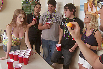 Dane challenges Party Girl Faye Reagan to a Strip Beverage Pong game. He lets her think she stands a chance at first but then he starts playing for real and gets her naked in no time. When she crashes on the couch, Dane pulls his cock out and fucks her hard and makes her swallow his cum.