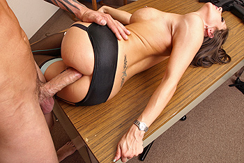 Investigating Officer Roxxx deals with huge hard-on!