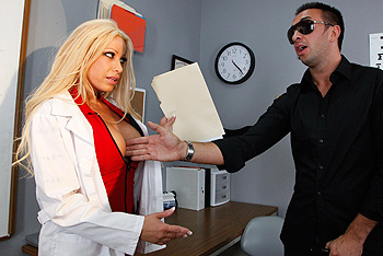 Optometrist Gina receives a patient who claims his job is causing him to go blind. She tries some extra special tests to determine that he's only faking his blindness in order to get workman's compensation. But Gina is willing to help him out with his little scam if he helps her out with a dose of deep dicking!