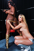 Jada and Jessie. Two wrestlers trying to show who has the best ass on the ring. They are ready for the fight and let the public know who's best. During the match the referee gets involved and give them the big price, his dick up their asses. Everybody wins! from Brazzers Network