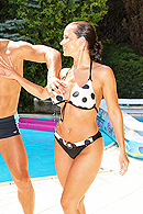 Ever been to a European techno dance party by the pool? It's crazy. Hot babes dance in bikinis and get oiled up as they strip to the music. They just wait for some lucky bastard to join in the fun, because those Euro-babes are horny. from Brazzers Network