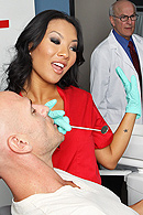 It's Asa's first day on the job as a dental hygienist when Johnny comes in for a routine check up. Asa's inexperience shows when she can't avoid hurting Johnny. Wanting to make a good impression on her new boss, she decides to silence Johnny's screams by sitting on his face. from Brazzers Network