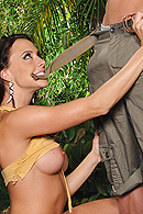Chanel is all alone in the jungle with nothing to do but play with herself. She rinses herself off with the dew from the leaves when Johnny shows up with some oil and his big cock. She has been longing for some kind of companionship and will take full advantage of the situation. from Brazzers Network