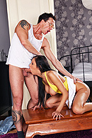 Candy just moved into her new apartment with her friend. She's a very responsible young adult but her roommate however is very irresponsible. She convinces Candy to spend her rent money on a store sale. When the landlord comes to collect Candy realizes that  there is only one way to pay and it is with her sweet little pussy. from Brazzers Network