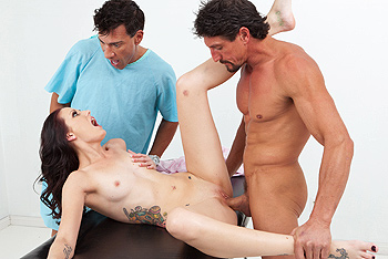 Tattoed Girl Being Busted With Two Dicks