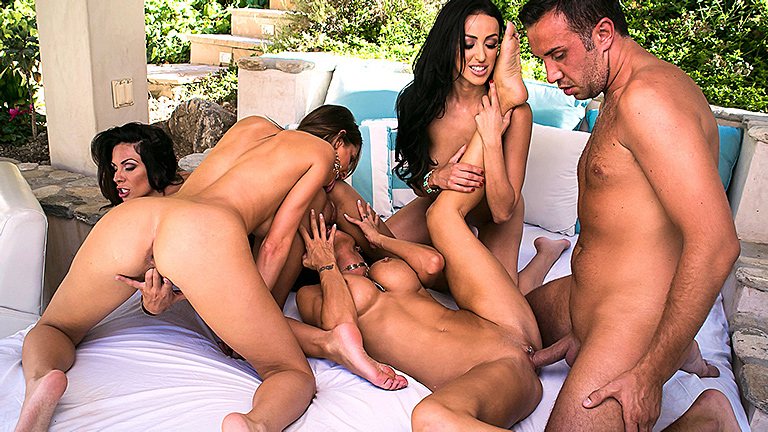 Pornstars-group-sex-near-pool,-HD-video