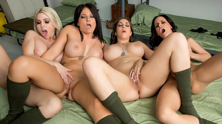 Lesbian foursome group sex initiation porn video