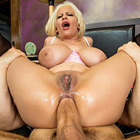 Holly Brooks married Erik Everhard's dad for his money, but when she gets a look at Erik himself, she decides she'd much rather get a big cock than a big bank account! She tries to seduce him in the bath tub, letting him spread some soapy suds on her big MILF booty, but it's only when she gets him in the bedroom and whips out her big tits that Erik finally dives in to get some of that stepmom pussy! She sucks Erik's fat cock, titty fucks him, and then rides him until she cums hard. Finally, Erik slides his huge dick into her tight asshole and fucks that gaping MILF booty until she's moaning for his cum!