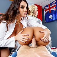 Alison Tyler and Johnny Sins are the medical staff at the latest winter games, and they're trying to find some time to themselves to fool around when they hear that ski jump superstar Phoenix Marie has crashed on the course! Once they make sure she's OK, the two dirty doctors decide to see if Phoenix is interested in joining their fuck session. Alison starts licking Phoenix's wet pussy while Johnny rubs some warming oil all over her big tits. Once Alison and Phoenix's pretty little pussies are dripping wet, they suck and fuck Johnny's fat cock, eat each other out, and share a big facial!