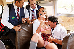 brazzers  			sienna milano		, the boobs on the bus go round