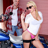 Keiran Lee has been banging Tucker Starr's mom, and she thought he was really annoying before she caught a load of his huge cock.  As soon as that teen slut saw Keiran's massive dong, she knew she had to have it, so she rubbed her tight teen pussy right on his motorcycle until she finally had his attention. She gives him a blowjob, doing her best to deepthroat that big dick before bending over so Keiran can fuck her doggystyle. Her natural tits bounce and her juicy butt jiggles as Keiran pounds her pussy, and then she gets a nice big facial cumshot!