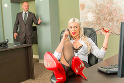 brazzers  			sienna milano		, chained to her desk