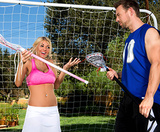 Busty Blonde's Ball Handling Lesson