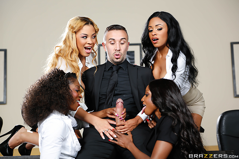 ������ ������� ������� VII: ���������� ������� / Anya Ivy, Diamond Jackson, Jade Aspen, Jasmine Webb (Office 4-Play VII: Ebony Babes) (2014) SiteRip